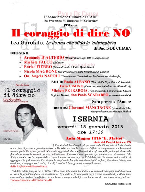 Manifesto Iniziativa IL CORAGGIO DI DIRE NO, Paolo De Chiara, 18 gennaio 2013, Isernia