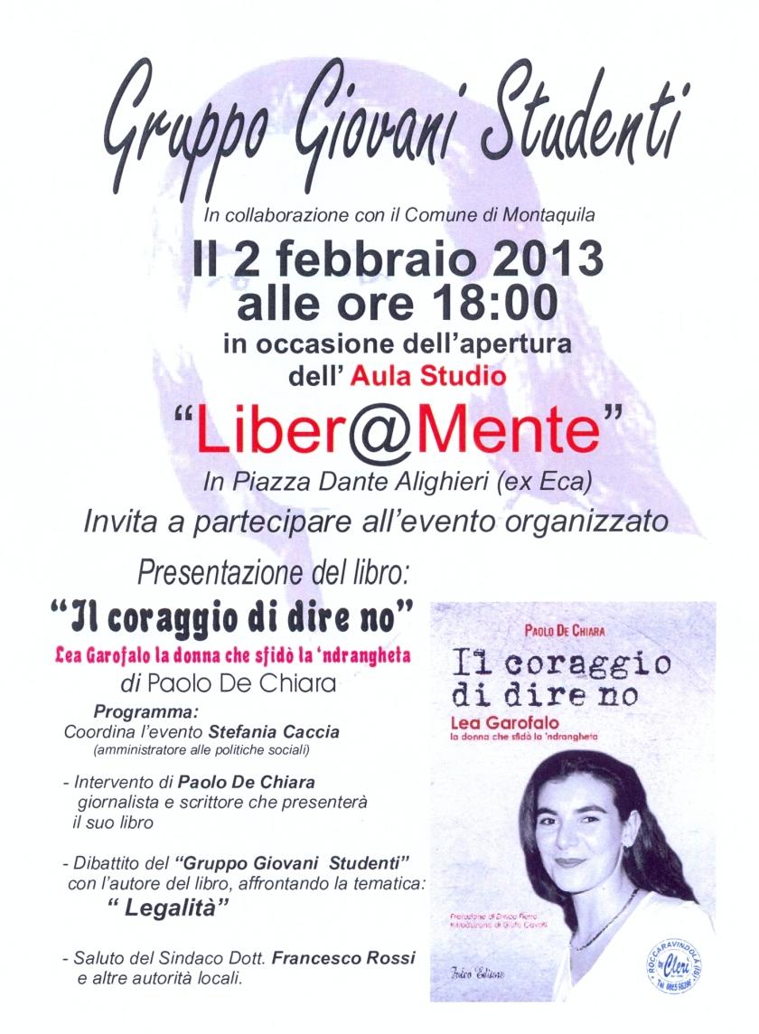 MONTAQUILA, presentazione libro, manifesto liberamente, 2 febbraio 2013