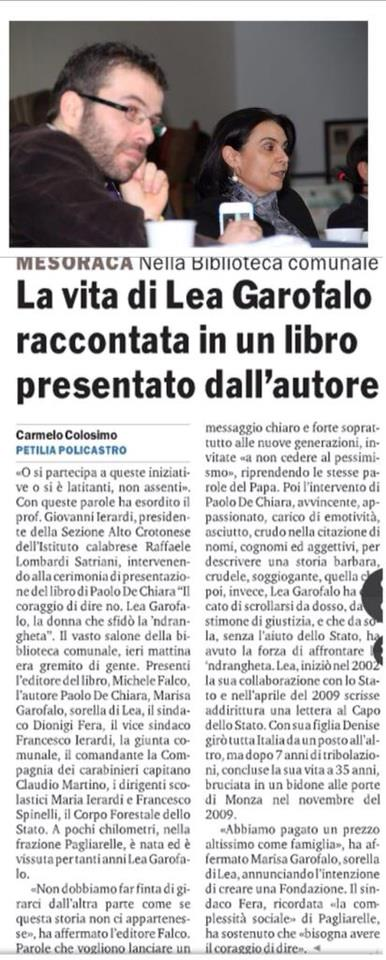 Gazzetta del Sud, 17 marzo 2013
