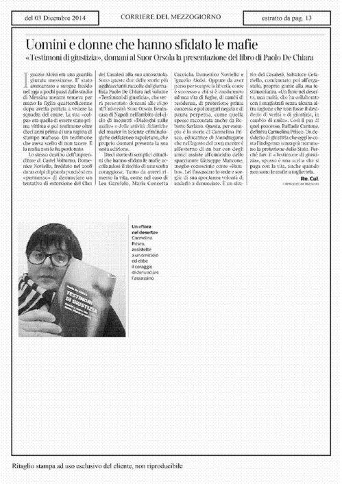 corriere del mezzogiorno, 3 dic 2014
