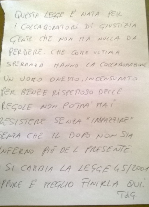 La lettera del TdG